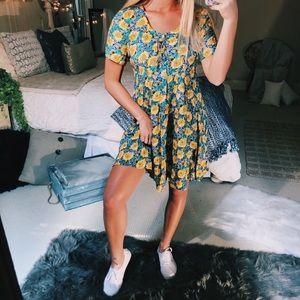 blue sunflower babydoll dress